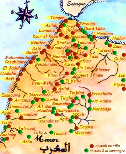Carte Du Maroc Avec Les Lieux Daccueil Et Sites A Visiter